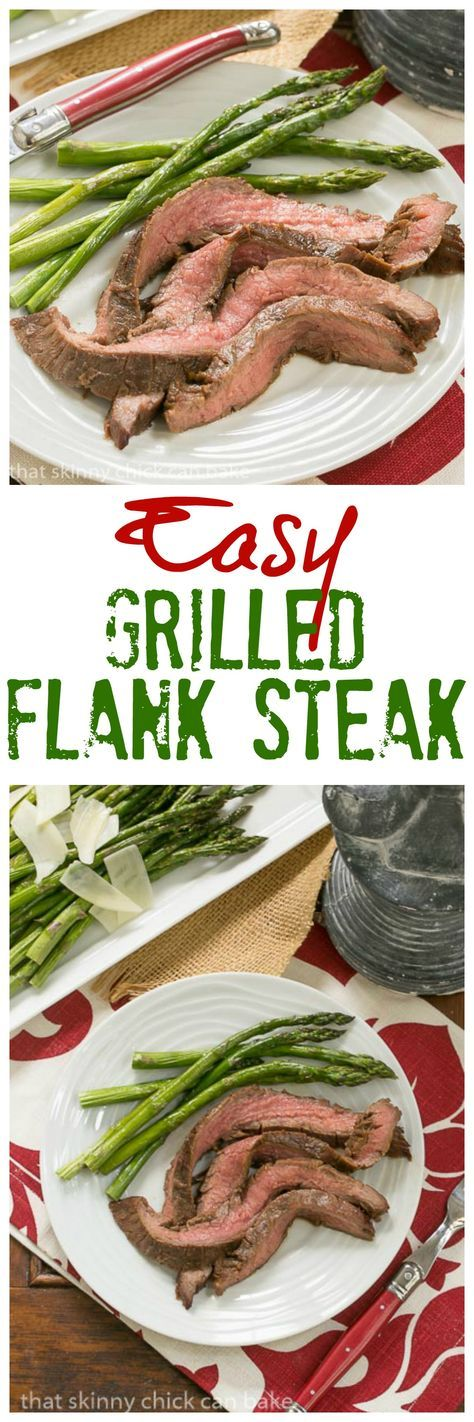 Easy Grilled Flank Steak | Marinate with pantry ingredients overnight, then toss on the grill for a terrific entree @lizzydo