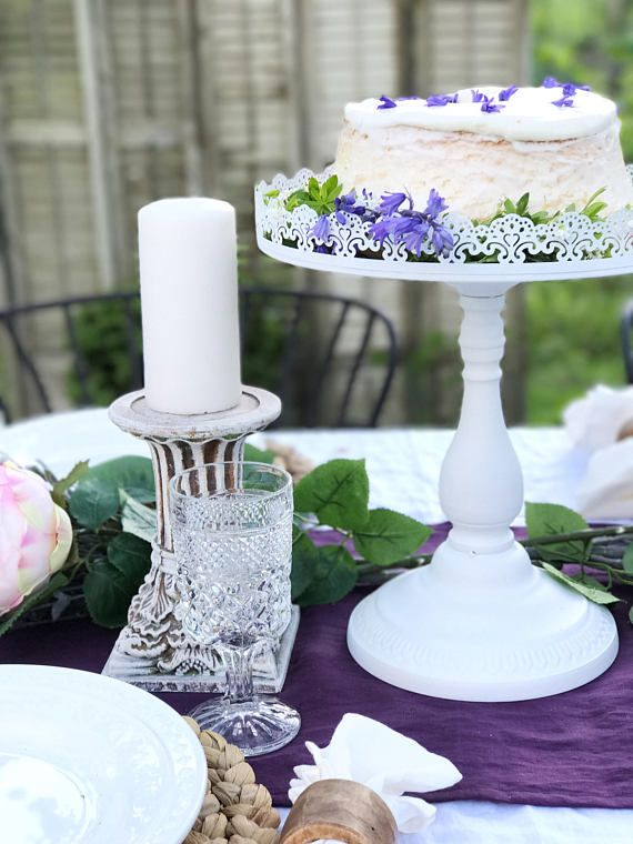 White Wedding Cake Stand Tall Distressed Pedestal Plate