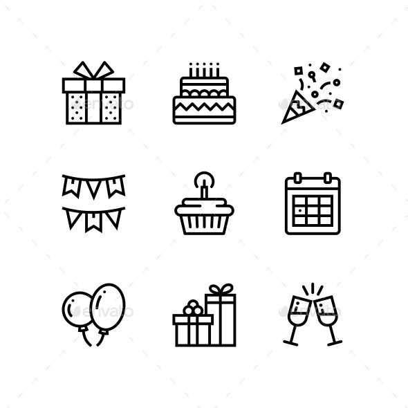 Birthday Event Celebration Icons For Web And Mobile Design Pack 1 Birthday Icon Icon Design Inspiration Gift Logo