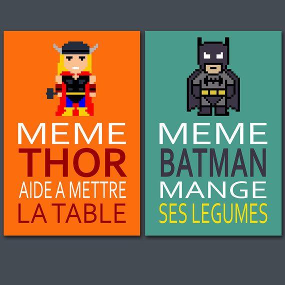 3 affiches superhéros avec citation humoristique par alexiableu