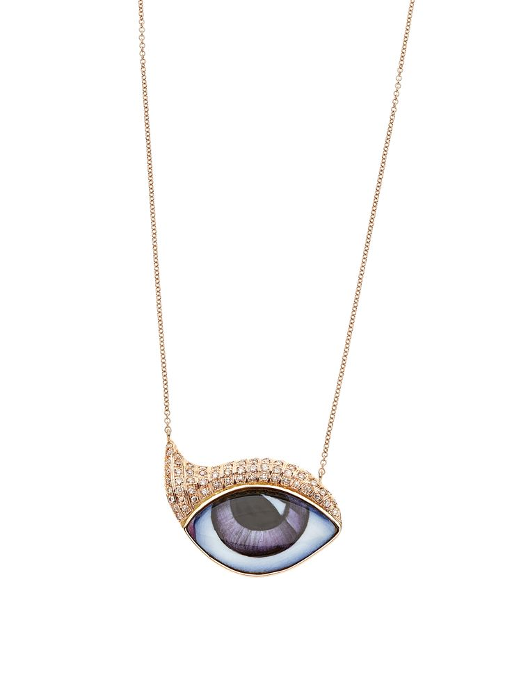"New ""Tu Es Partout"": Studio 54 Pink gold, hand painted enamelled purple eye, brown diamonds."