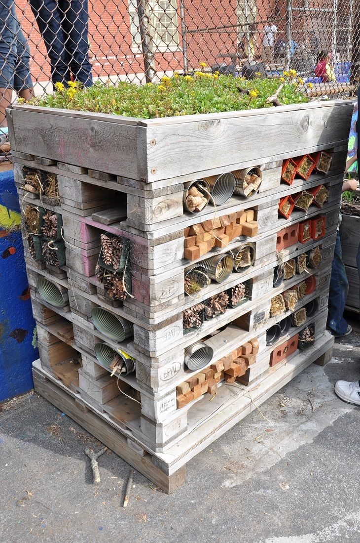 This school it Brooklyn proves that you don't need to live in the countryside to give nature a home. It has a bug hotel in its outdoor garden which attracts bees, butterflies and other critters in the spring and summer #homesfornature