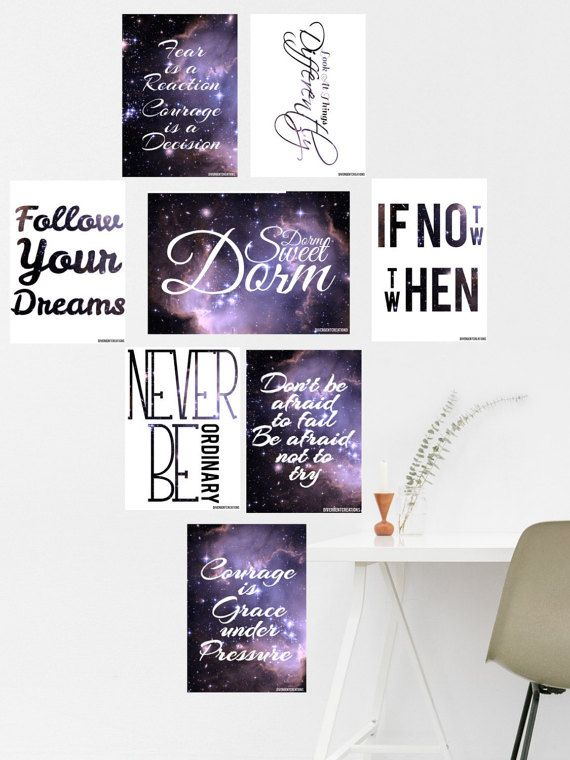 Dorm quotes pack Galaxy inspirational quotes https://www.etsy.com/uk/listing/466580973/galaxy-dorm-quotes-pack-inspirational