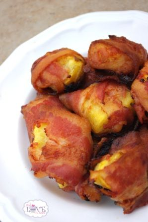 Pineapple Bacon Bites! - Have made these twice in the last few weeks for parties. BIG hit. The kids love them too. Delicious. Have to use fresh pineapple. Super-yum!