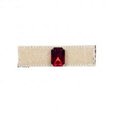Anello in velcro foderato in gros grain con pietra rettangolare rubino con castone riposizionabile