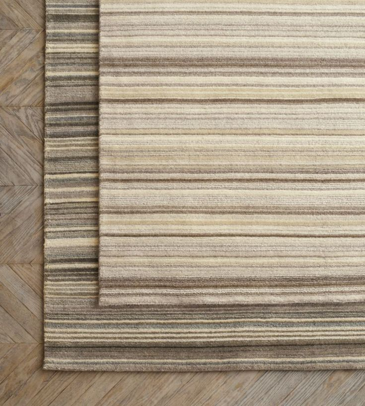 Lynx Grey Striped Hand Knotted Wool Rug | Crate and Barrel