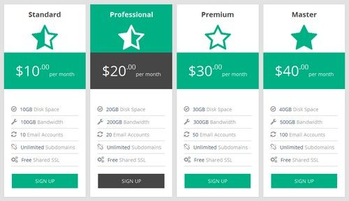 Flat Green + Gray Pricing Table