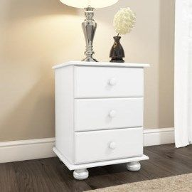 HMT007 Hamilton 3 Drawer Bedside Table in White