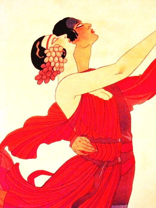 Wonderful Reds in a George Barbier Ilustration