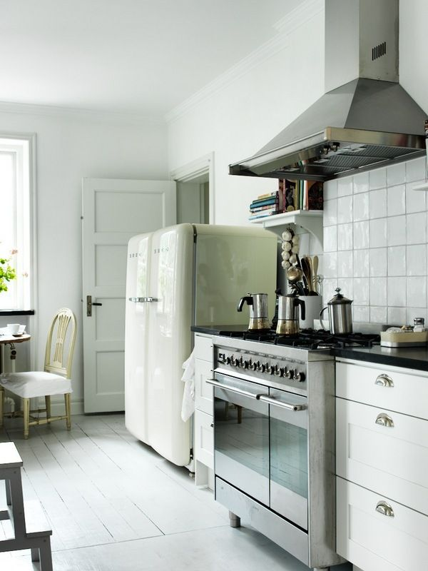 SanctuaryVintage Kitchens, Smeg Fridge, Vintage Modern, Vintage Interiors, Country Life, Double Smeg, Kitchens Cupboards, White Cabinets, White Kitchens