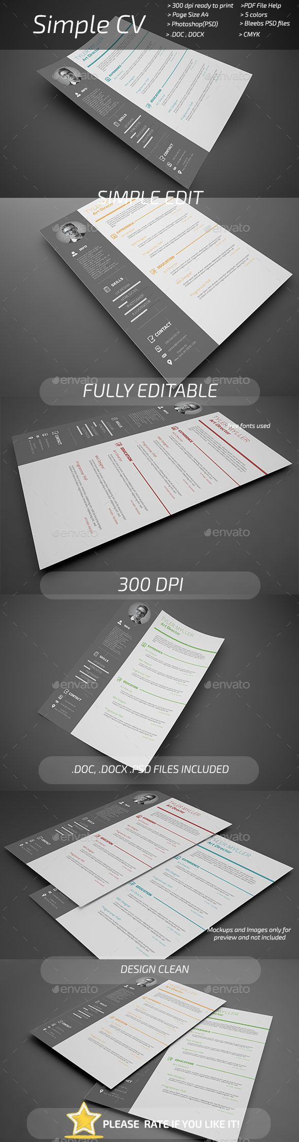 #Simple #CV - Resumes #Stationery Download here: https://graphicriver.net/item/simple-cv/11069364?ref=alena994