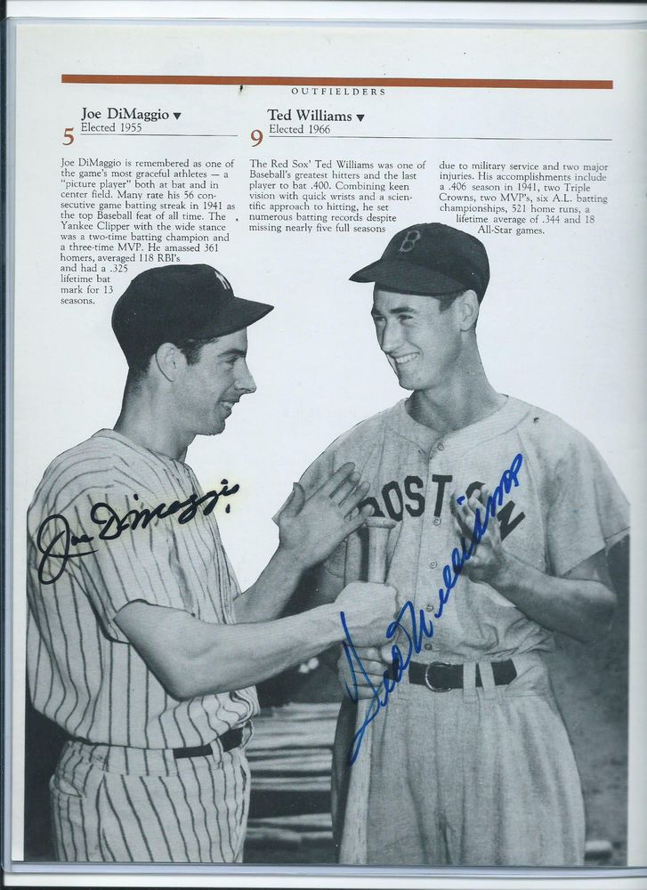 1d012417bd8 JOE DIMAGGIO   TED WILLIAMS AUTOGRAPHED HALL OF FAME YEARBOOK PHOTO - REAL  SIGS