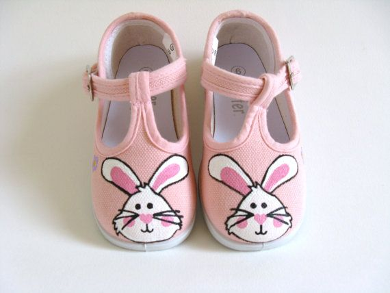 Girls Easter Shoes, Bunny Rabbit, Children, Hand Painted, Pink Canvas T- Strap