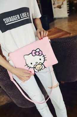 Item Type: Hello Kitty Handbag Size: Small 20cm Number of Handles/Straps: Single Interior: Interior Slot Pocket Closure Type: Cover Handbags Type: Day Clutches Shape: Envelope Decoration: Tassel Gende