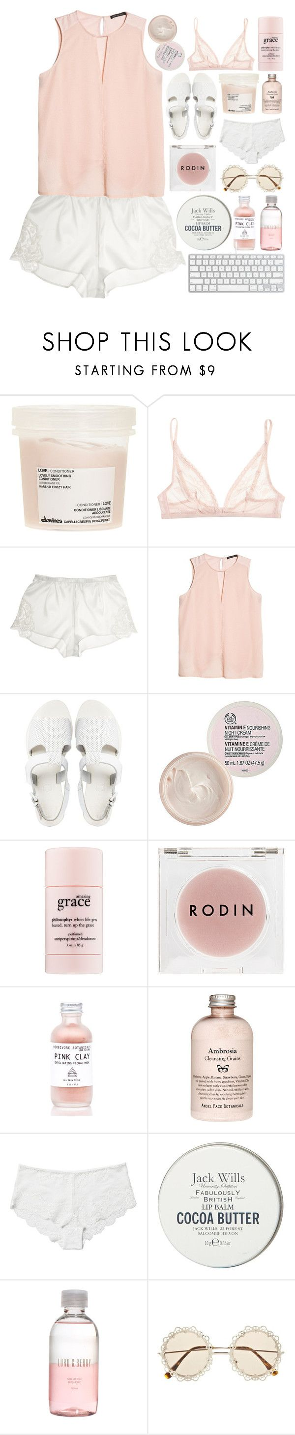 """look at me now i'm falling"" by cottonisth ❤ liked on Polyvore featuring Davines, Calvin Klein Underwear, Dolce&Gabbana, MANGO, Sol Sana, The Body Shop, philosophy, Rodin Olio Lusso, Monki and Jack Wills"
