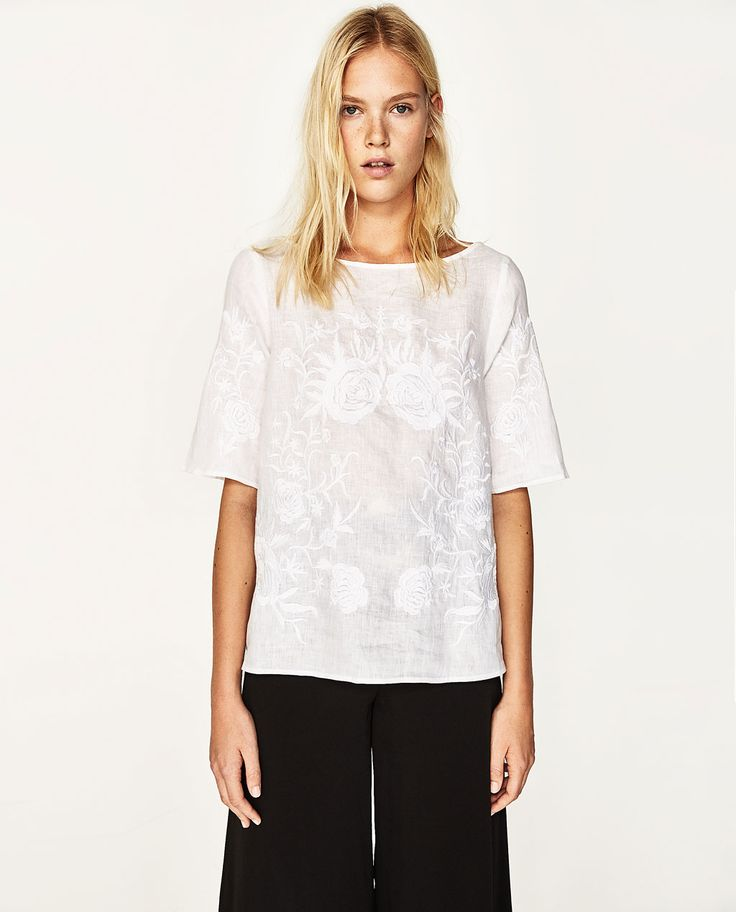 EMBROIDERED LINEN BLOUSE-View All-TOPS-WOMAN | ZARA United States
