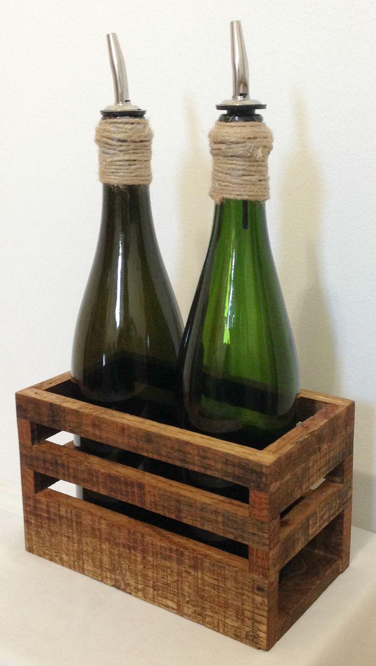 Oil & Vinegar bottles with originally designed and handcrafted cady #handmade #reclaimed #upcycled #jute #twine #oil #vinegar #decor #gift #MyCRO #WM