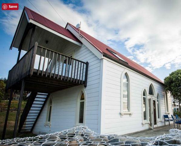Originally the Te Karaka Presbyterian church at Gisborne, New Zealand, now a residence at Okitu, photo from trademe.