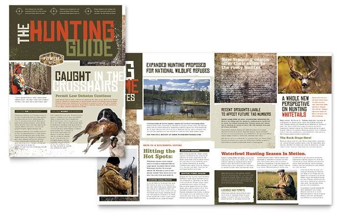 Hunting Guide Newsletter Design Template by StockLayouts