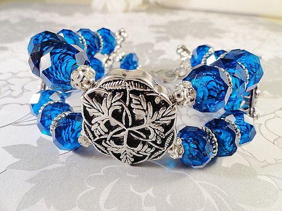 Deep Dark Sparkling Pools Of Blue Chunky Bracelet by JewelrybyPJ