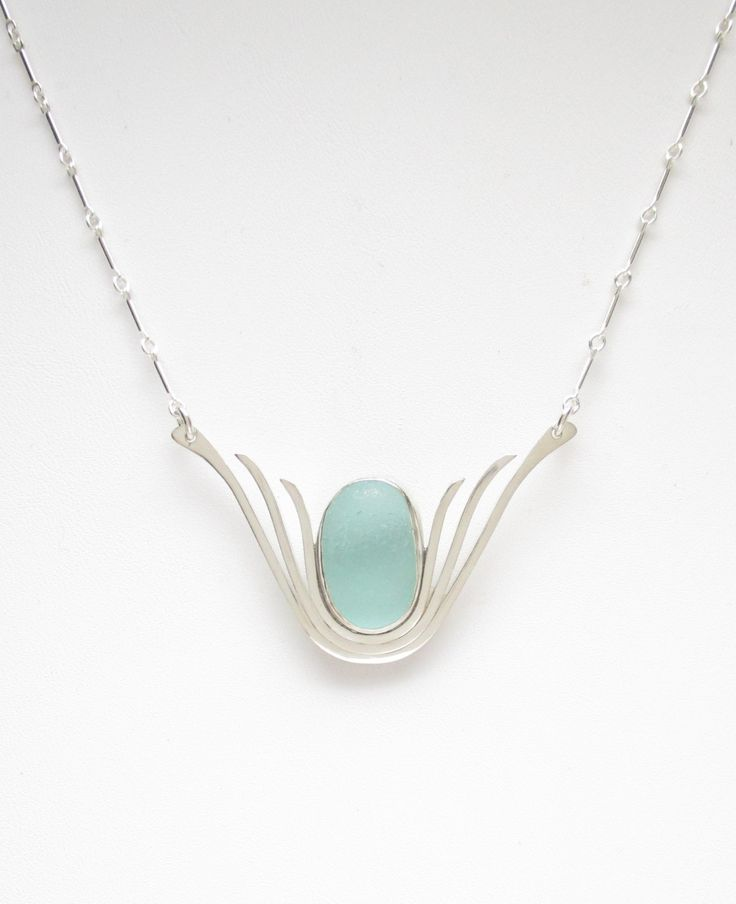 Sea Glass Jewelry - Sterling Aqua Sea Glass Necklace by SignetureLine on Etsy