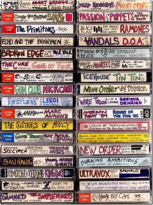 mix tapes, 80's, 1980s, cassette, you know you're a child of the 80's when, something today's kids will never see or understand, retro, vintage, band, New Wave, Bauhaus, goth, music, presents for your girlfriend, boyfriend, gift idea, found items