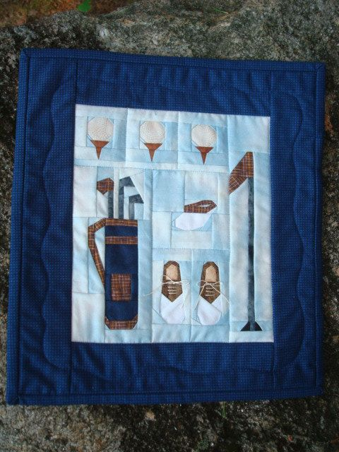 Golf Quilted Wallhanging Golfer's Fiber Art by Jackiesewingstudio