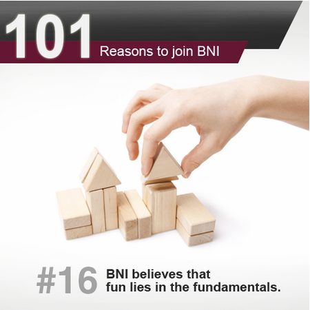 BNI believes that fun lies in the fundamentals. Members attend BNI meetings every single week and have their business represented to a room full of members and visitors. It is this commitment that helps members generate higher revenues for their business, they simply follow the structure with discipline. To be part of this structured referral organization, click on the link to get invited to a BNI meeting → http://bit.ly/BNIgetinvited