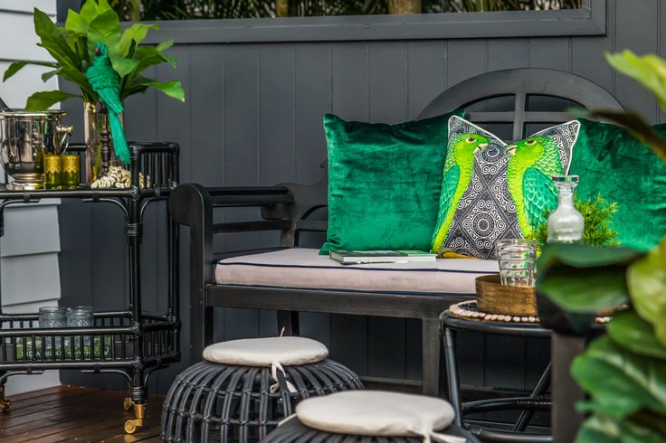 Deck Styling/Black and Green/Tropical style/Bar Cart/British Colonial Influence