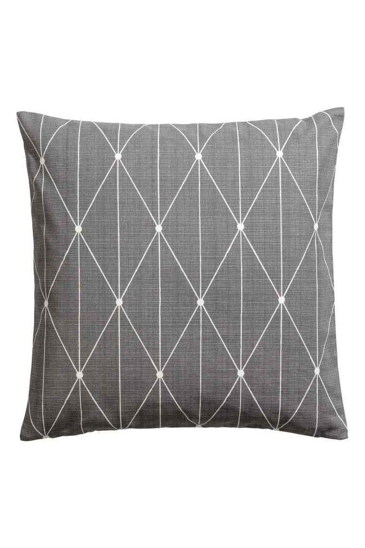 Slub weave cushion cover - Grey - Home All   H&M GB 1