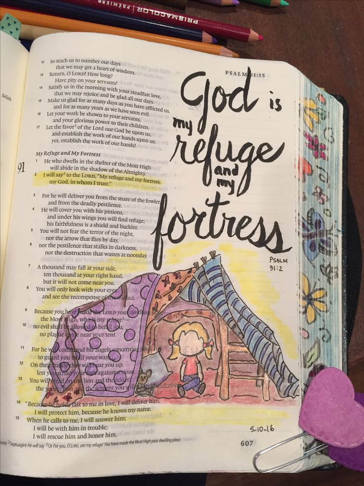 Psalm 91:2 Bible Art Journaling by @patjournals