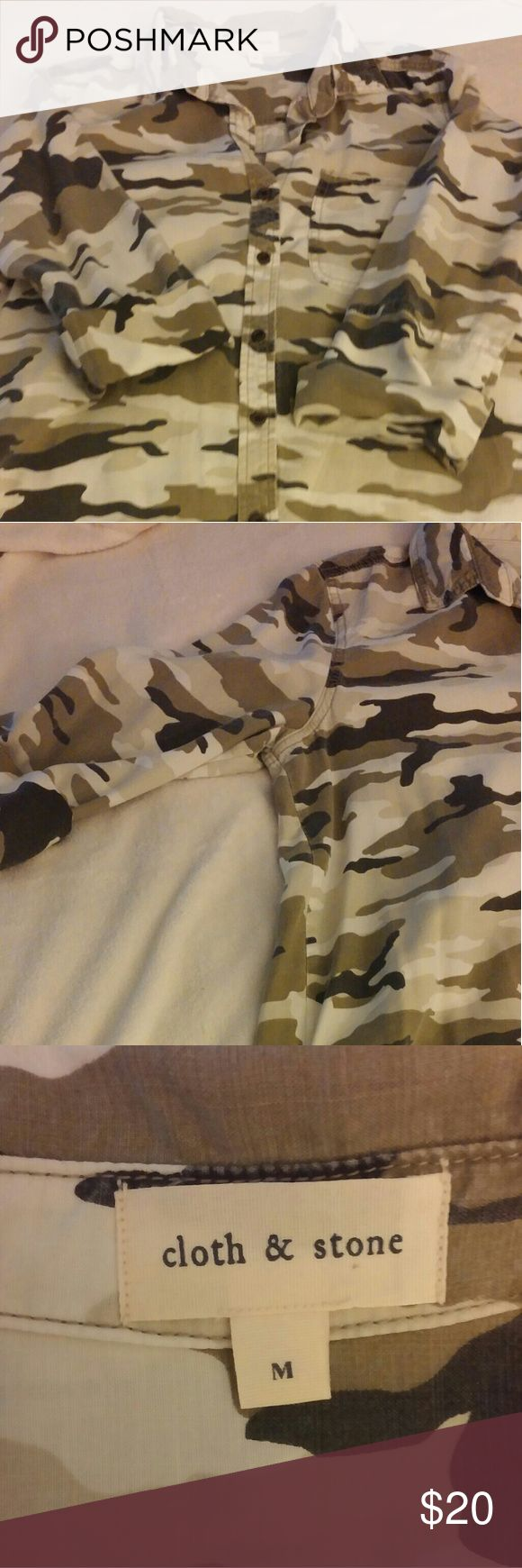 Blouse Army fatigue is all the rage again! This would be so cute with some added embellishments like patches or rhinestone...also being seen in the fashion industry today. 3/4 sleeve with single cuff fold. Single pocket. 100% Tencel which means it is super soft and comfy. Cloth & Stone Tops Button Down Shirts