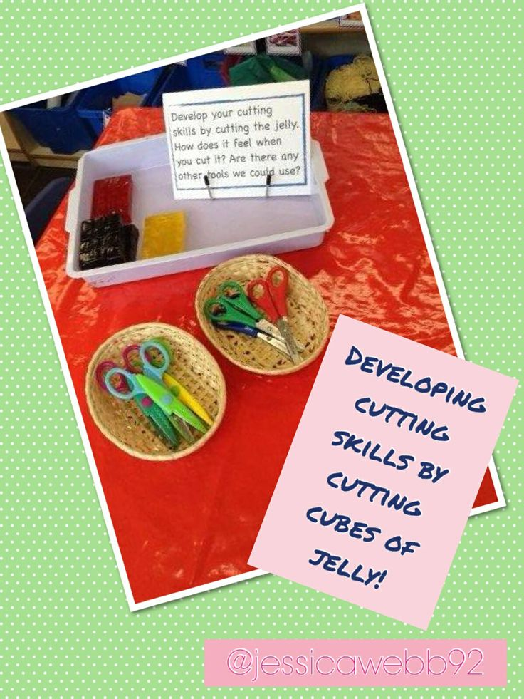 Developing fine motor skills by using scissors and other tools to cut jelly cubes.