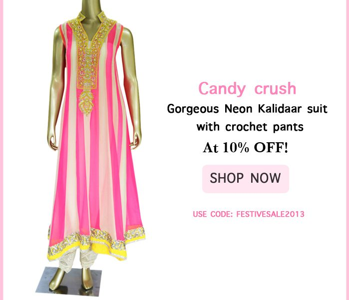 Candy crush : Gorgeous Neon Kalidaar suit with crochet pants! ... At 10% OFF! Use Code: FESTIVESALE2013 to avail!   Shop @ https://www.studiokairi.com/product.php?product=kairi220  * Offer valid only on Festivities 2013 collection ** Offer Valid Till 16 October 2013