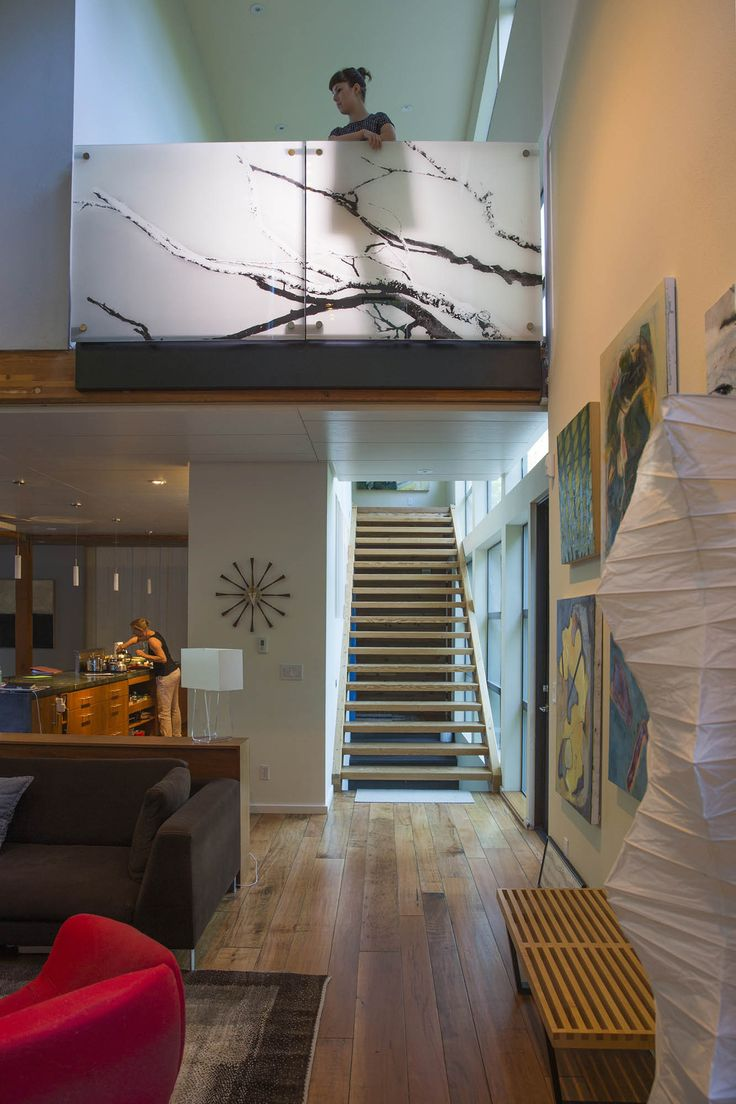 Translucent Tree Branches Glass Guardrail Residential Design