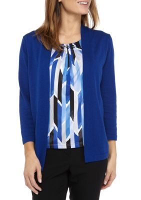 Alfred Dunner Women's Petite Size Sweater Geometric Inner Two For One - Royal - Pxl