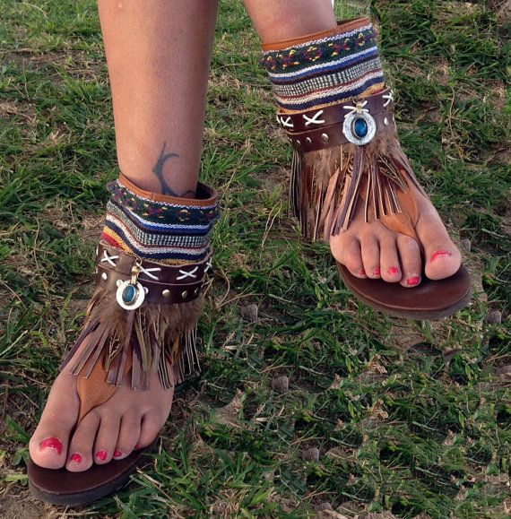 Sandals hippie chic handmade by Craftboho on Etsy
