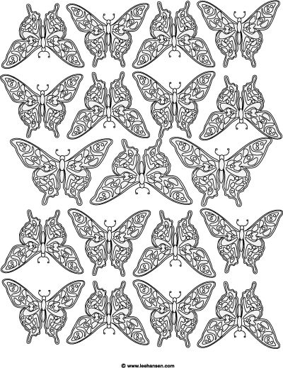 Complex Butterfly Design Coloring Page For Adults Butterflies Poster Printable Sheet