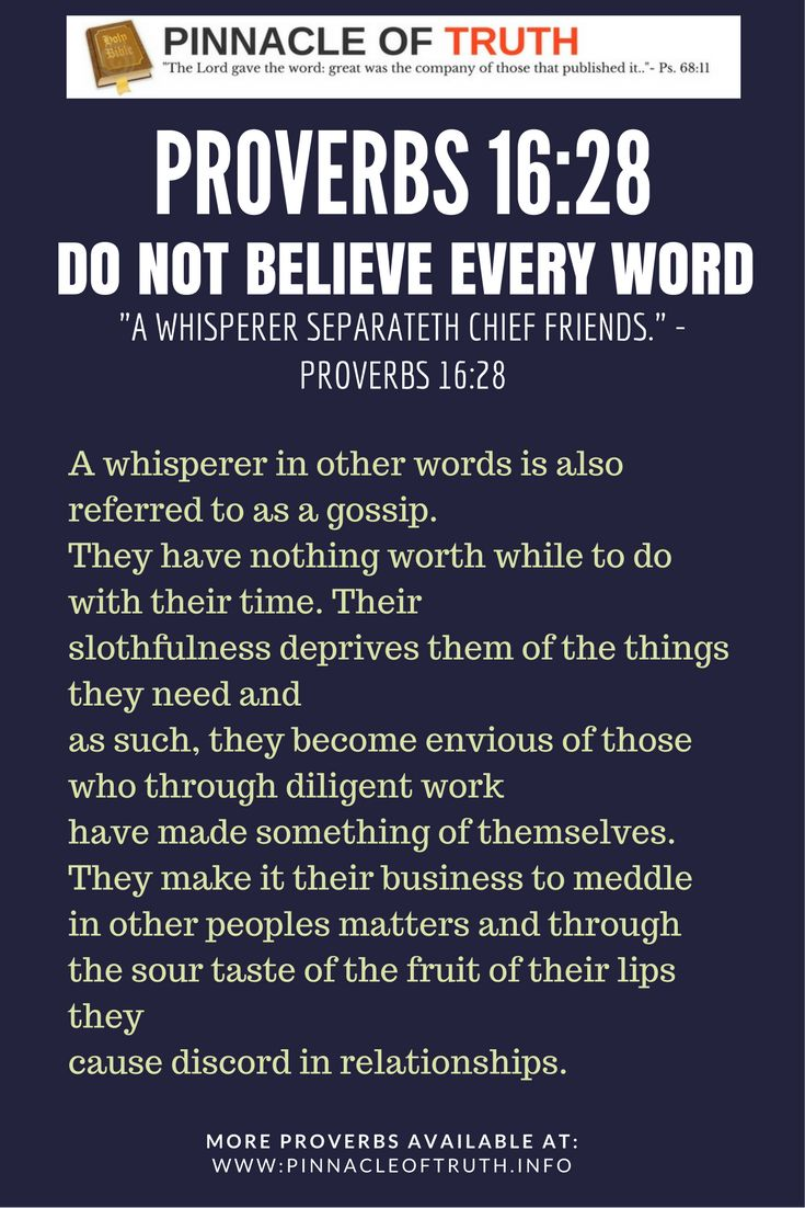 Proverbs 16:28; Do not believe every word.