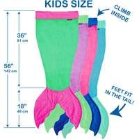 Blankie Tails Kids Mermaid Blanket size chart