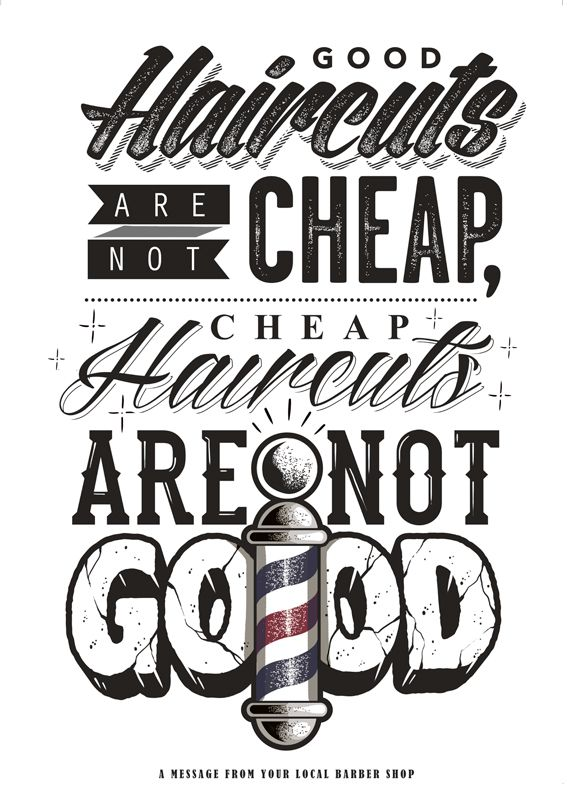 good cuts typography and texture - Barbershop Design Ideas