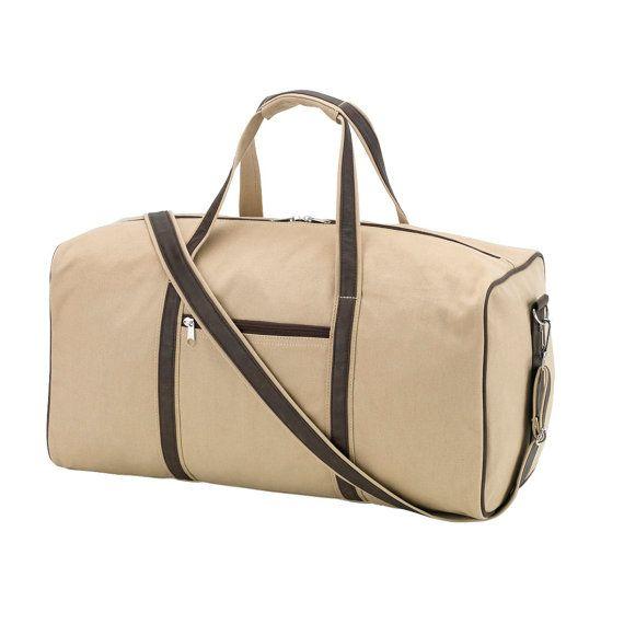 Con Monograma lienzo color caqui bolsa de lona con cuero marrón oscuro como manijas; Para los hombres; Padrinos de boda regalo