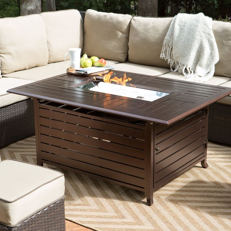 rectangle gas fire pit set the stage