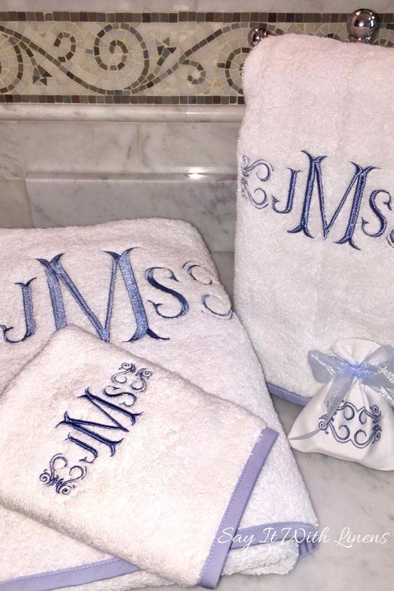 Bias Trim Bath Towels Personalized Towels Monogrammed Bath Towels Monogram Towel Set Blue Monogram Towel Custom Bath Towels Wedding Monogram Towels Monogrammed Bath Towels Personalized Towels