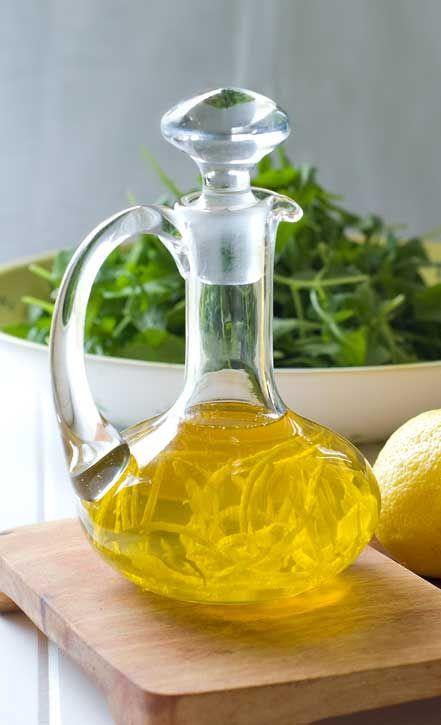 Lemon Infused Olive Oil - I'm definitely doing this.  It's pretty and I love lemon olive oil.