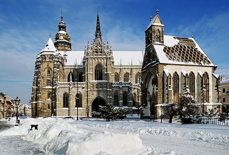 St. Elizabeth Cathedral in Kosice, wintertime photo  http://www.eurobusways.com/kosice-budapest-airport-transfer.html