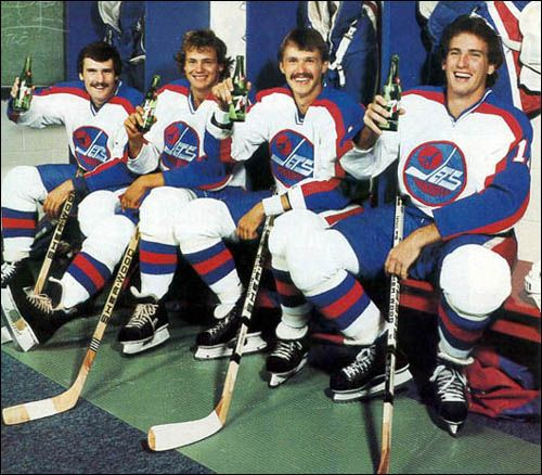 Winnipeg Jets 7-up! Classic! Tim Watters, Dale Hawerchuk, Laurie Boschman & Scott Arniel