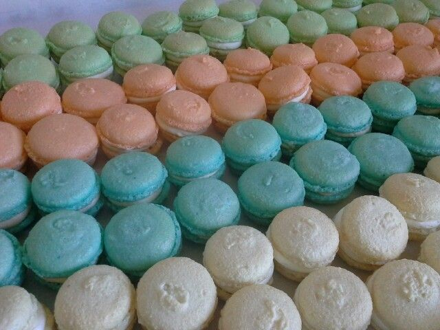 Macarons apricot, blueberry, lime & white chocolate flavours created by MJ www.mjscakes.co.nz in sunny Hawkes Bay NZ