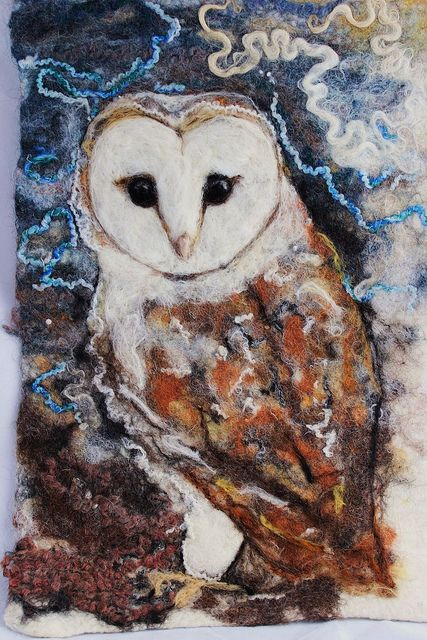 Barn Owl felted painting | Flickr - Photo Sharing!
