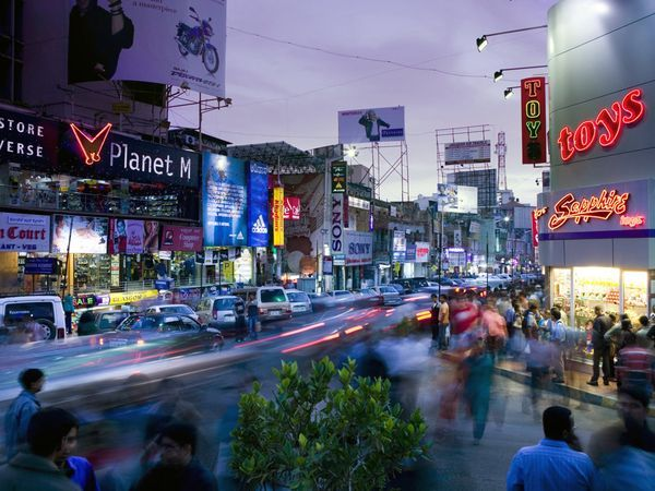 Brigade Road, Bangalore -   Bangalore's Brigade Road hums, a reflection of how quickly India's industries have grown in response to globalization. Along with Commercial Street and the MG Road, Brigade Road appeals to young, savvy shoppers.